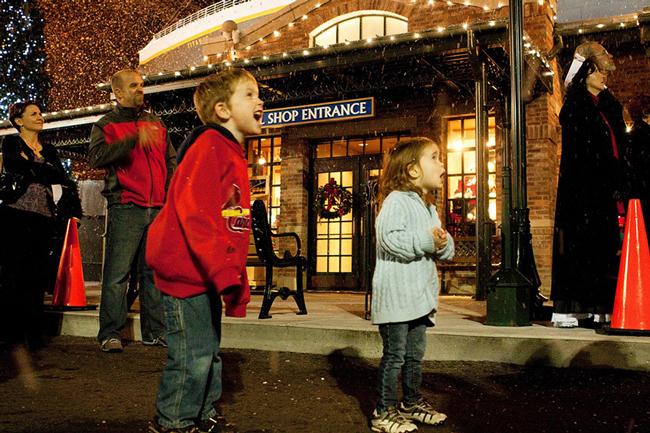 Kids celebrating Winterfest in Pigeon Forge at Titanic Museum Attraction